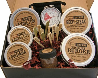 Gusto's Gift Set: THE BARBECUE BOX -- Rubs for Chicken, Pork and Beef + Grill Top Thermometer and Smoked Salt -- Perfect Grilling Gift