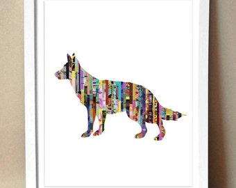 German Shepherd Magazine Strip Giclee Art Print - Various Sizes