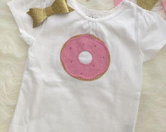 Donut toddler tee, pink donut t-shirt, hand sewn applique- personalize with your child's name!