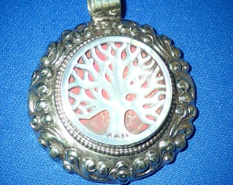 Tree of Life Pendant with carved mother of Pearl Tree.