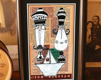 Mustache Guard Couple, framed small wall art, wall decor, digital print in frame