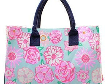 Monogrammed Floral Tote Bag -Beach Tote -Teacher Tote -Pool bag -Beach Bag - Sports Utility tote- Other patterns available