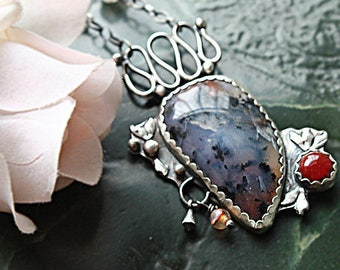 Sterling Silver Dendritic Amethys and Roses Agate Necklace, Artisan Jewelry,