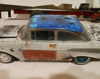 Scale Model Car,White Chevy,Rock and Roll, Classicwrecks,Rusted Wreck
