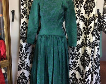 Emerald Green & Light Blue Brocade Dress