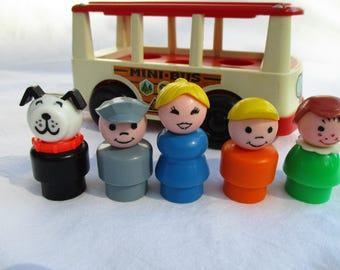 Vintage Fisher Price Mini Bus 141 with 5 Little People, 1969 Collectible Toy with Bus Driver in Gray Cap