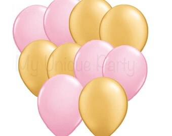 Light Pink and Gold Balloons 11 inch Latex / Helium Quality / Set of 10 Balloons / Photo Props Weddings Birthdays Bridal Shower