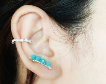 Bridal Earrings - Bridesmaid Jewelry - Wedding Ear Cuff - Bridesmaid Gift - Ear Crawler - Ear Cuff No Piercing - Ear Climbers