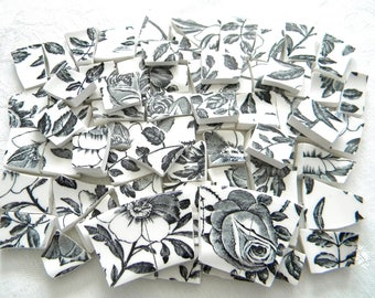 Floral BLACK & WHITE Mosaic Tiles - Broken China - Recycled Plates - 70 Tiles