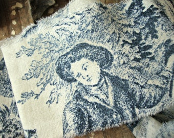 Vintage Delft Blue and Natural French Toile Hand Frayed Fabric Ribbon Trim