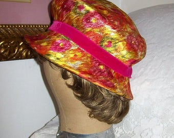 Vintage 1960s Ladies Multi Color Psychedelic Metallic Mod Hat Only 15 USD