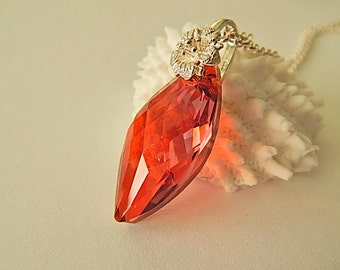 Red Magma Marquise Necklace, Sterling Silver Pendant, Ruby Red Necklace, Statement Jewelry