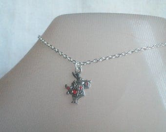 Red Queen's Rabbit, Anklet, Rabbit Trumpet, Bunny Rabbit, Alice, White Rabbit, Red Hearts, Girl's Jewelry, All Ages, Easter Jewelry,