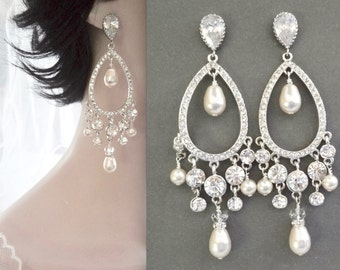 Pearl earrings, Pearl chandelier earrings, Long pearl earrings, Swarovski pearl earrings, Crystal earrings, Wedding earrings,Brides earrings