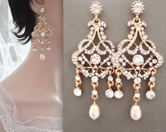Gold pearl chandelier earrings ~ Brides earrings ~ Long~ Crystal rhinestone earrings ~ Gold statement earrings ~ Wedding jewelry ~ EVA