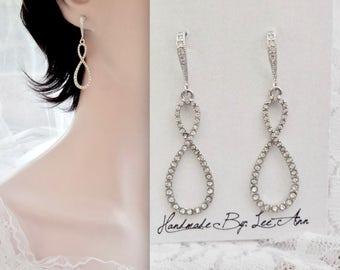 Brides Infinity earrings, Crystal infinity earrings, Sterling ear wires, Infinity wedding earrings, Infinity earrings for a bride ~