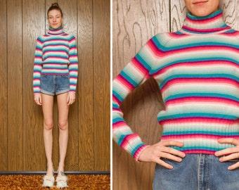 Vintage 80s 90s Pastel Pink Teal Green Striped Gay LGBTQ Rainbow Stripe Geometric Ski Long Sleeve Turtleneck Sweater S M L