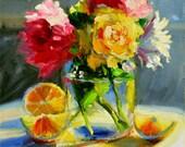 Art Print of, POSY in MASON JAR, pink and yellow, lemons, classic painting