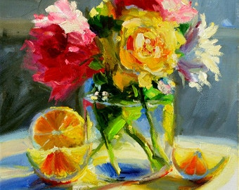Art Print of, POSY in MASON JAR, pink and yellow, lemons, classic painting