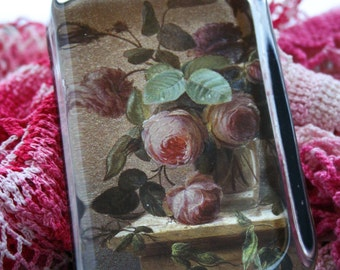 Glass Paper Weight, Gold Shimmer Background with Pink Old Fashion Roses