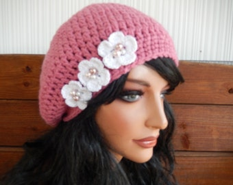 Womens Hat Crochet Hat Slouchy Hat Winter Accessories Women Beanie in Rose pink with White Crochet flower by creationsbyellyn