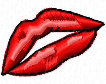 Lips Machine Embroidery Design - Instant Download