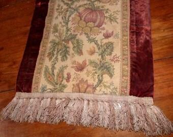 Antique French table runner long handmade floral tapestry fabric w red velvet runner w fringes 1900s French table linens, Christmas table