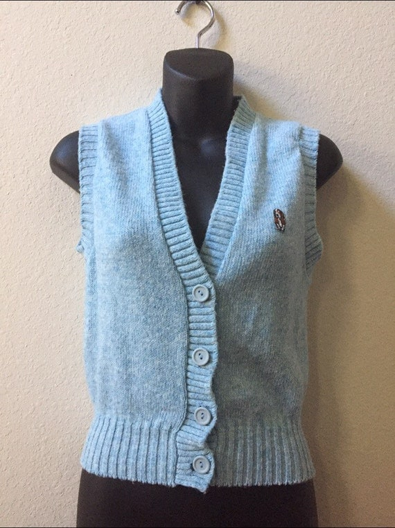 1970s sweater vest blue sweater vest womens vest Hush