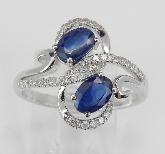 14K White Gold 1.30 ct Diamond and Sapphire Cocktail Right Hand Ring Size 6.75
