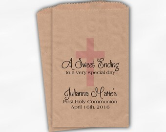 First Communion Favor Bags - Baptism or Religious Party Custom Favor Bags - Set of 25 Baby Pink and Black on Brown Paper Treat Bags (0073)