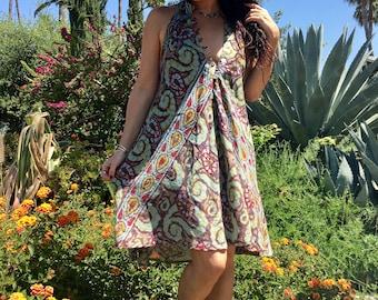 Indian Dress// Vintage Cotton Mini Dress // Boho Hippie Gypsy// One of a Kind Dress// Gauzy Mini Dress