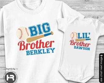 Baseball Big Brother Shirt & Baseball Little Brother Shirt - 2 Personalized Sibling Shirts
