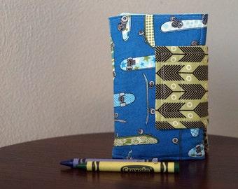 Crayon Holder for Boys - Crayon Wallet - Skateboards - Blue - Green - Stocking Stuffer - Boy Christmas Gift - Stocking Stuffer
