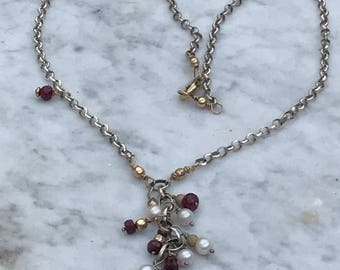 Ruby N Pearl Drop Necklace - diamond Cut Rolo chain - 14 k GF accents - Artisan Sundance Style Jewelry