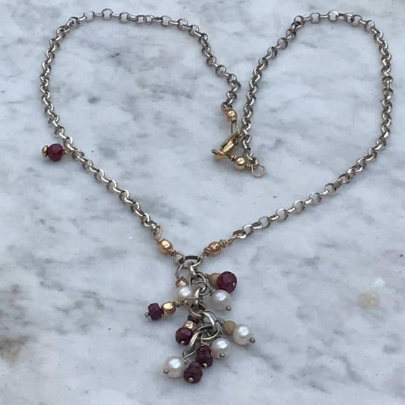 Ruby N Pearl Drop Necklace - diamond Cut Rolo chain - 14 k GF accents - Artisan Sundance Style Jewelry