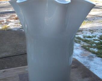 gorgeous clean huge vintage mid century blown fluted CASED GLASS VASE