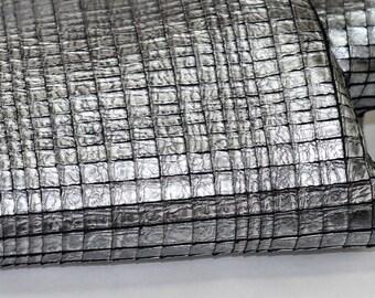 New Leather Full Hide, Dark Silver Goatskin Genuine Leather, Metallic Leather