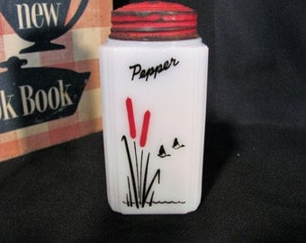 McKee Tipp City  Cattails Pepper Shaker / Cattails Milk Glass Shakers with Original Red Lid
