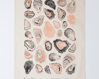 Oyster Tea Towel - Salmon