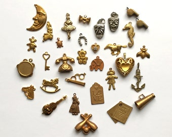 Assorted Charms, Teddy Bear Charms, Music Charms, Heart Charms, Horse Charms, Patina Brass, Brass, Jewelry Making, B'sue Boutiques, Item0850