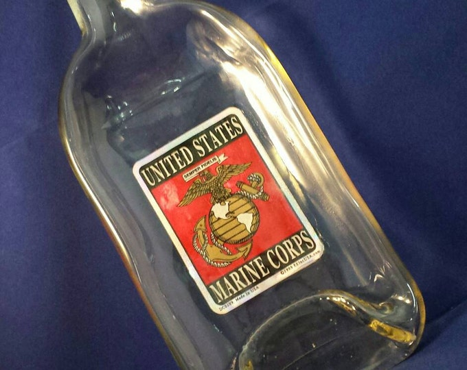 MARINES Fireball Whiskey Bottle Melted Into a Dish