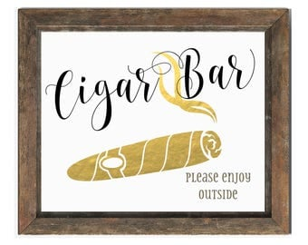 Cigar Bar Sign | DIY PRINTABLE | Wedding Cigar Bar | Please Enjoy Outside | Instant Download
