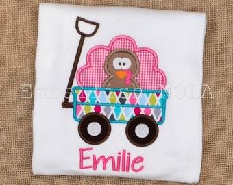 Girl Turkey Wagon Applique Shirt or Bodysuit Thanksgiving Shirt