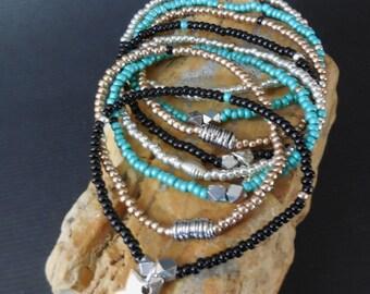 dainty bracelets, set of 8 mini bracelets, heart charm, charm bracelet, set of 8 bracelets, stretch bracelet