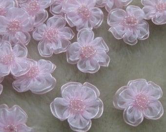 Organza ribbon flower bows Appliques pink set of 6