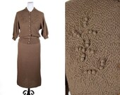 SPRING SALE 1950s Sweater Set // Soutache Trim Flower Taupe Brown Cardigan and Skirt Dress Set