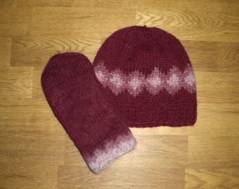 Icelandic set of hat and mittens in burgundy and light burgundy size medium ready to ship