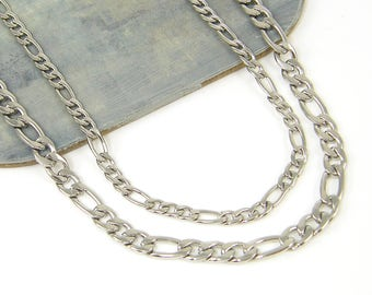 Men's Stainless Steel Necklace Chain Men's Figaro Chain Jewelry for Him 18 20 22  24 Inch |5mm - 547, 4mm - 2718