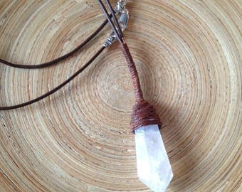 Sale! Wrapped quartz point and leather necklace primitive - inspired by Jyn Erso Kyber  Star Wars Rogue One men's necklace kids