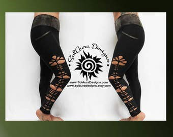 SAGE LADY - Junior / Women Non-See Through High Waist Black Leggings Cut and Weaved Black Yoga Leggings Small, Medium and Large L-3003